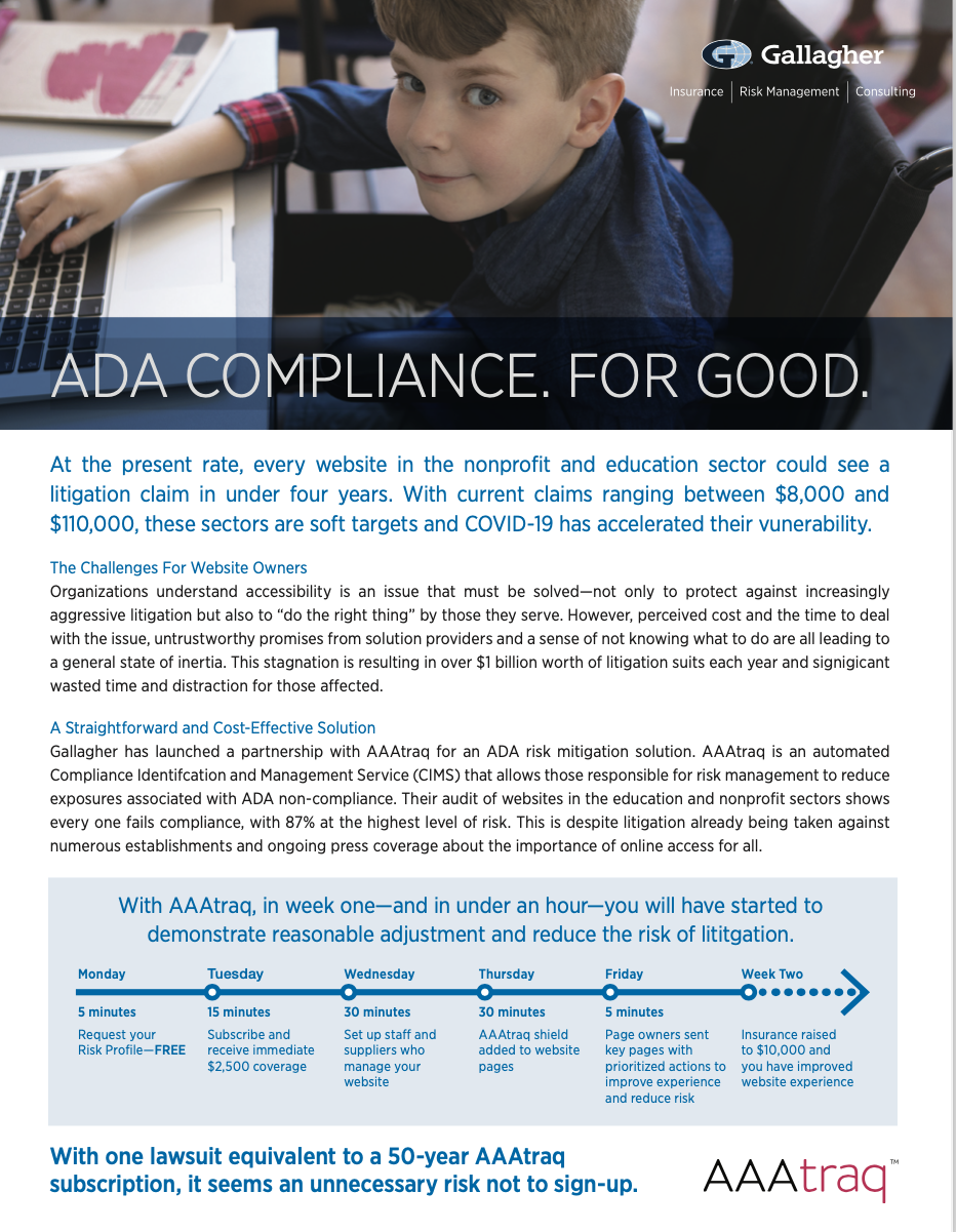 Gallagher and ADA COMPLIANCE, with AAAtraq
